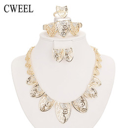 costume jewelry pendant necklaces UK - CWEEL Wedding Bridal Imitate Crystal Jewelry Sets For Women Fashion Pendant Costume Chokers Statement Necklace Earrings Bracelet