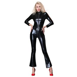 Black leotard zipper online shopping - Lady Sexy Zipper Faux Leather Catsuit Jumpsuit Womens Fetish Latex Leotard Costume Black Wet look Bodysuit Slim Clubwear