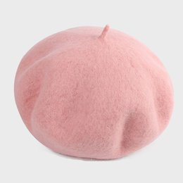 painters hats berets NZ - New European and American Warm painter hat ladies octagonal cap British solid color wool beret Imitation wool pink A-826