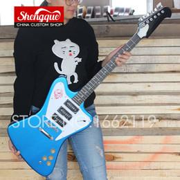 Basswood eBony fingerBoard online shopping - factory custom Fire bird guitar blue color strings guitar with ebony fingerboard Electric guitars musical instruments shop