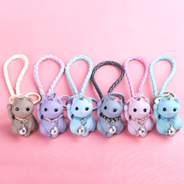 lucky charms gifts Australia - Lovely Cartoon Lucky Cats Keychains Kids Women Kitten Leather Bells Portachiavi llaveros Chaveiro Keyring Rich Charms Gifts