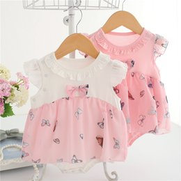 $enCountryForm.capitalKeyWord Canada - 2018 summer Bow-coated butterfly flower dress cotton summer children clothing Sleeveless baby clothes newborn bodysuit baby girl clothes