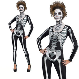 scary woman costumes 2019 - Adult women Halloween Party Costume Horror Cosplay bloody Skull Zombie Costume Scary Devil Ghost Skull Skeleton Leotard