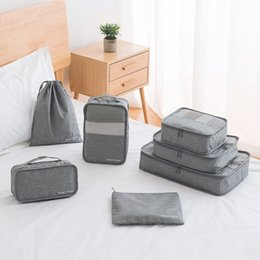 Packing Clothes For Storage NZ - Storage bag 7PCS Set waterproof Oxford Cloth Travel Mesh Bag In Bag Luggage Organizer Packing Cube Organiser for Clothing wholesale 2018 new
