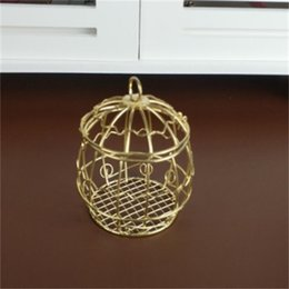 Wholesale Candy Box Classical Hollow Iron Birdcage Golden Cage Candlestick Wedding Ceremony Home Furnishing Decor Originality Candle Holder qc bb