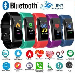 Venta al por mayor de ID 115 Plus Inteligente Pulsera Rastreador de Fitness Pantalla Colorida Presión Arterial Monitor de Ritmo Cardíaco Reloj de Mujer para iphone Samsung Huawei xiaomi