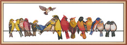 decor birds UK - The birds party animal home decor paintings ,Handmade Cross Stitch Embroidery Needlework sets counted print on canvas DMC 14CT  11CT