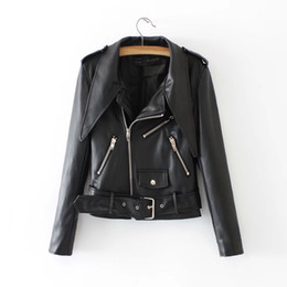 $enCountryForm.capitalKeyWord UK - TUHAO High Quality Streetwear PU Leather Biker Jackets With Optional Belt Sheath Female Zipper Coats Turn-down Collar Tops T2661