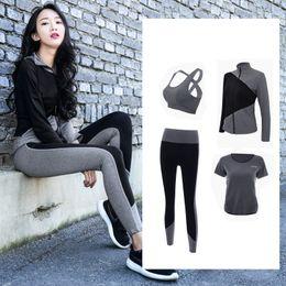 Discount xxxl plus size yoga pants - 2018 New 4 Piece Sport Suit Women Yoga Set Fitness Hoodies Tights Plus Size Jogging Breathable Exercise Sports Bras Gym