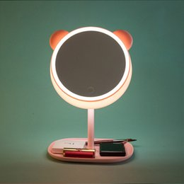 Cartoon Creative Cute LED Makeup Mirror Desk Lamp With Lights Desktop  Portable Folding Make Up Round Mirrors Budget Home Made Led Lamp