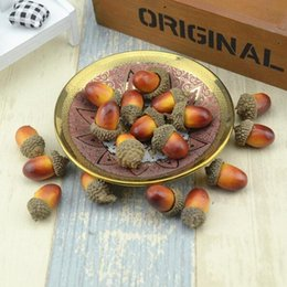 Folk Art Christmas Australia - Cheap 20pcs 3cm Acorns Mini Artificial Fake Foam Fruits and Vegetables Berries Flowers For Wedding Christmas Tree Decoration