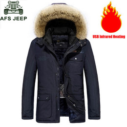$enCountryForm.capitalKeyWord NZ - Afs Jeep Winter Jacket Men Parkas Coat Thick Warm Fleece Hooded Jacket USB Infrared Heating Electric Thermal Jacket Men Clothing C18111301