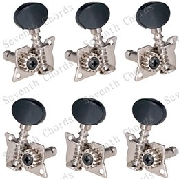 Acoustic tuning mAchines online shopping - A Set R3L Chorme Opened Tuning Pegs Keys Machine Heads Tuners For Acoustic Folk Classical Guitar With Black Small oval Knobs