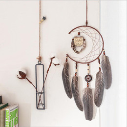Wholesale Handmade Dreamcatcher With Owl Pendant Double Ring Feathers Wind Chime Bar Wedding Home Wall Hanging Decor Gift Regalo