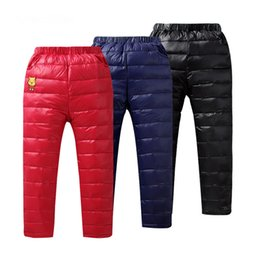 warm leisure pants NZ - Winter Children Down Pants Windproof Trousers Kids Boys Girls Warming Pants Fashion Leisure Thick Down Trousers Waterproof