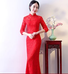 Wholesale qipao lace cheongsam resale online - Red Bride Cheongsam Oriental Wedding Party Evening Dress Chinese Traditional Womens Qipao Sexy Lace Long Robe Retro Vestidos