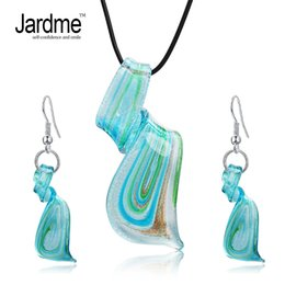 $enCountryForm.capitalKeyWord Australia - Jardme Jewelry Sets Mix Twisted Lampwork Glass Murano Inspiration Pendants Necklace and Earrings Jewelry Sets for Women Party