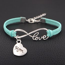 $enCountryForm.capitalKeyWord Canada - 2018 Boho Vintage Infinity Love Mom heart Charm Bracelet Women Men Weave Multilayer Light Green Leather Suede Bangles Lucky Simple Jewelry