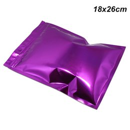 $enCountryForm.capitalKeyWord NZ - 100 PCS 18x26cm Purple Aluminum Foil Resealable Packaging Pack Bag Mylar Foil Zip Lock Resealable Food Grade Packing Pouch with Tear Notches