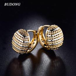 Discount wedding hoop earings - Wholesale- BUDONG 3 colors Hoop Earing Rose Gold-Color Hoop Earring Basket Shaped Half Ball Wedding Party Hoop Earings f