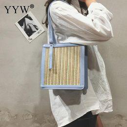 $enCountryForm.capitalKeyWord Canada - wholesale 2018 Pu Leather Bag Women Shape Rattan Straw Bag Lady Square Buckle Straw Handbags Female Crossbody Beach Rattan Bags