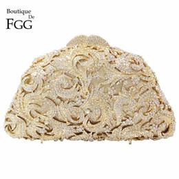 golden crystal evening bags 2019 - Women's Hollow Out Clear Crystal Golden Evening Clutch Bags Bridal Wedding Dress Metal Hard Case Dinner Handbags Sh
