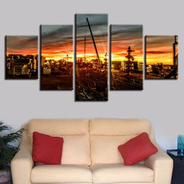Pictures Sunsets Scenery NZ - HD Printing Pictures 5 Pieces Sunset Building Natural Scenery Canvas Paintings Modular Posters Living Room Decor Wall Art Framed
