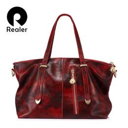 $enCountryForm.capitalKeyWord Canada - REALER brand fashion women genuine leather shoulder bags female handbag large capacity tote bag 2017 Red Brown Green Blue Black