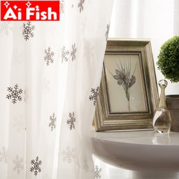 Luxury Window Cottons Australia - Luxury White Cotton Linen Curtain Fabrics Sheer Christmas Snowflake Embroidery Tulle For Bay Window Living Room Curtains wp157-4
