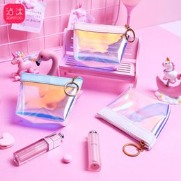$enCountryForm.capitalKeyWord Australia - New Jelly Laser Waterproof PU Wallets Holder Kids Girl Favor Wallet Storage Bag Zipper for Headset Gift Gold Keychain Coin Purse Clutch