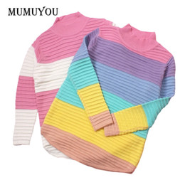 $enCountryForm.capitalKeyWord Canada - Women Lolita Girls Sweet Jumper Sweater Turtleneck Rainbow Color Striped Pink Loose Knitted Pullover Top 200-A459
