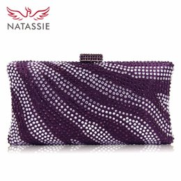 Diamante Clutches NZ - Natassie Brand Women Evening Bags Diamante Crystal Clutch Bag River Pattern Wedding Party Purse Royal Blue Crossbody