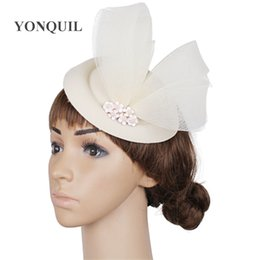 54dff6a65216b NEW Girls beautiful gold fedora loops hats elegant ladies wedding  fascinators felt wool hair clips nice ivory cocktail race headdress SYF279