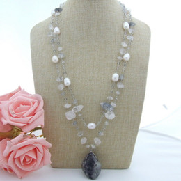 "Discount white gold tibetan necklaces - N022929 25"" 2 Strands White Rice Pearl Tibetan Crystal Pendant Necklace"