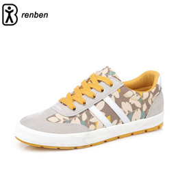Discount renben shoes black canvas - Renben Fahion Floral Style Women Shoes Lace-up Walking Comfortable Platform For Female Flats Shoes