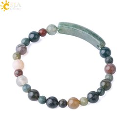 Wholesale CSJA mm mm Mixed Green Gemstone Beaded Bracelet Natural Moss Agate Beads Tag Strand Bracelets for Women Nature Color Stone Jewelry F733