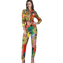 China Gold Chain Printed Tracksuits Women Two Piece Set Autumn Fashion Long Sleeve Button Up Collar Shirt And Pant Ladies Sweat Suit cheap ladies button cardigans suppliers