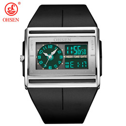 wristwatch for swimming UK - Ohsen sport watch wristwatches mens boys led digital 30M Swim rubber band fashion designer popular black hand wathes for gift