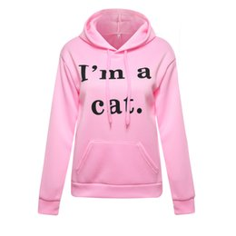5ab74976ee41 Kawaii Letter Cat Ear Cap Hoodies Women I Am A Cat Print Loose Hooded Sweatshirts  2018 Cute Long Sleeve Pullovers Sudadera Mujer