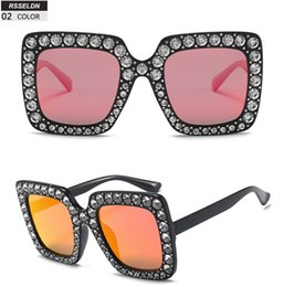 317b4e6054b wholesale High Quality Rhinestone Sunglasses Women Luxury Brand Black Pink  Oversized Sun glasses For Women Square Fashion Shades Gifts