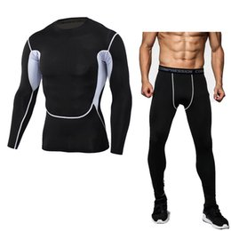 $enCountryForm.capitalKeyWord NZ - New Dry Fit Compression Tracksuit Fitness Tight Running Set shirt Legging Men's Sportswear Demix Black Gym Sport Suit