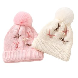 $enCountryForm.capitalKeyWord NZ - 2018 Autumn Winter Baby Cute Bow Cotton Hat Scarf For Kids Boy Girl Knitted Earflap Beanies Cap Crochet Child Outdoor Warm Hat