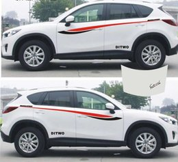 decal side stickers trucks 2019 - 1set SUV Car Truck auto sport power waist Graphics Side Decal Body Hood Stickers for CX-5