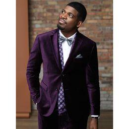 $enCountryForm.capitalKeyWord NZ - Latest Coat Pant Designs Purple Velvet Men Suit Slim Fit 2 Piece Smoking Jacket Tuxedo Custom Groom Blazer Prom Suits Terno