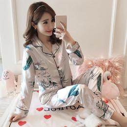 $enCountryForm.capitalKeyWord Canada - Silk Satin Flowers Print Pajamas Sets for Women 2018 Autumn Long Sleeve Pyjama Suits Female Lounge Homewear Pijama Home Clothing