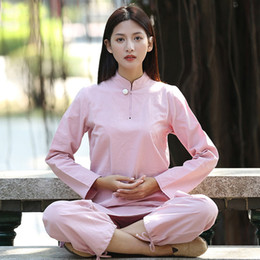 69897ca47 Women Yoga Suit Loose Trousers Tops Set Female kung fu Tai Chi Clothing  Ladies Linen Outdoor Yoga Clothes Zen Meditation Clothes
