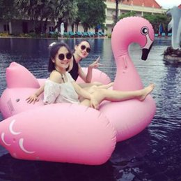 Discount water floating beds - 150cm Inflatable Flamingo Floats Tubes Pool Swimming Toy Ride-On Pool White Swan Floating Bed Swim Ring for Water Sports