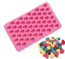 55 heart silicone mold UK - 55 Holes Bake Cake Mold 1.5 Mini Heart Silicone Chocolate Fondant Jelly Cookie Muffin Ice Mould Flexible Moulds Cupcake Mold