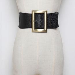 Body Elastic Belt Australia - New stretch wide waist fashion gold large buckle belts girdle female Body sculpting cummerbund elastic solid women accessories