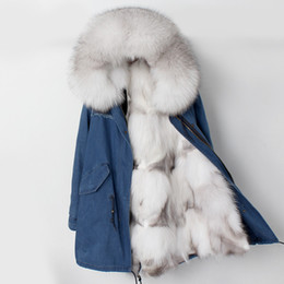 China 2018 New Parka Winter Jacket Women Coat Natural Real Fox Fur Liner Raccoon Fur Collar Hood Long Thick Outerwear Parkas Casual suppliers